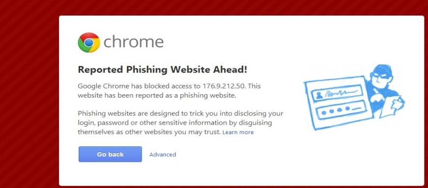 Reported Phishing Website Ahead